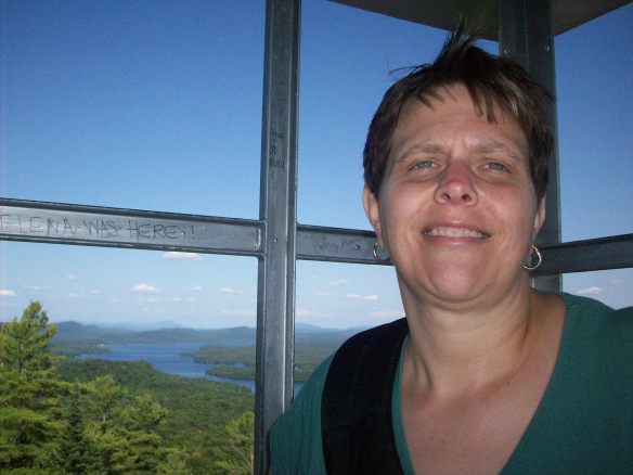 Vicky at the top of the fire tower at the top of Bald Mountain